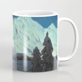 Winter Cabin in the Mountains landscape painting by Ivan Fedorovich Choultsé Coffee Mug