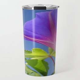 Close Up Of Ipomoea with Leaf and Sky Background Travel Mug