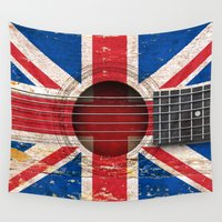 british flag Wall Tapestries featuring Old Vintage Acoustic Guitar with Union Jack British Flag by Jeff Bartels
