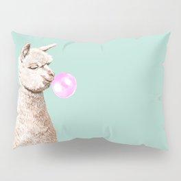 Playful Alpaca Chewing Bubble Gum in Green Pillow Sham
