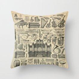String Instruments Larousse Pour Tous French Encyclopedia Lithograph Illustration Vintage Scientific Throw Pillow