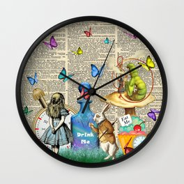 Alice In Wonderland Dictionary Page Celebration Wall Clock
