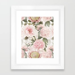 Vintage & Shabby Chic - Antique Pink Peony Flowers Garden Framed Art Print