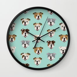 English Bulldog pattern print dog breed pet portrait gifts for dog owner bulldog Wall Clock