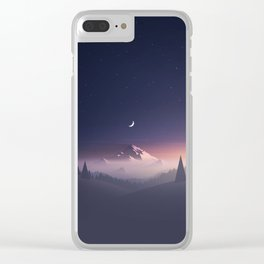mountain moon Clear iPhone Case