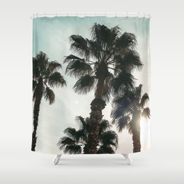 Palm Tree Art Print {1 of 3}   Teal Pastels Topical Beach Plant Nature Vacation Sun Vibes Artwork Shower Curtain