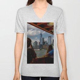 Freedom Tower & Tourists Unisex V-Neck