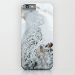 Winter Scene Photo | Winter Nature Photography | Tree Trunk Covered With Snow iPhone Case