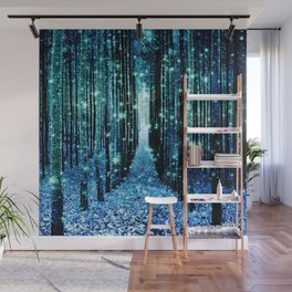 Magical Forest Teal Turquoise Wall Mural