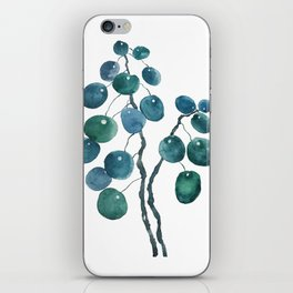 Chinese money plant watercolor iPhone Skin