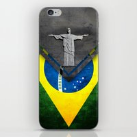 brazil iPhone & iPod Skins featuring Flags - Brazil by Ale Ibanez