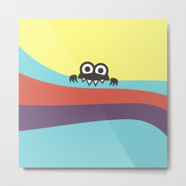Yummy Colorful Stripes Cute Cartoon Character Metal Print