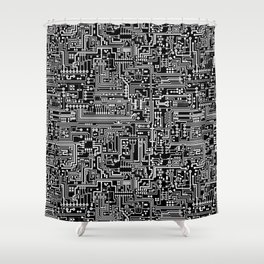 Circuit Board on Black Shower Curtain