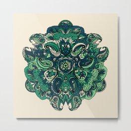 Green Indian Mandala Metal Print