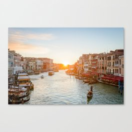 GRAND CANAL SUNSET VENICE ITALY PHOTOGRAPHY Canvas Print