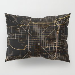 Black and gold Indianapolis map Pillow Sham