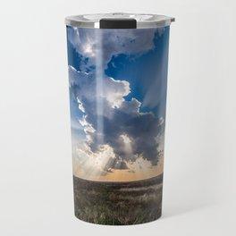 Explosion - Sunbeams Burst From Behind Storm Cloud in Kansas Travel Mug