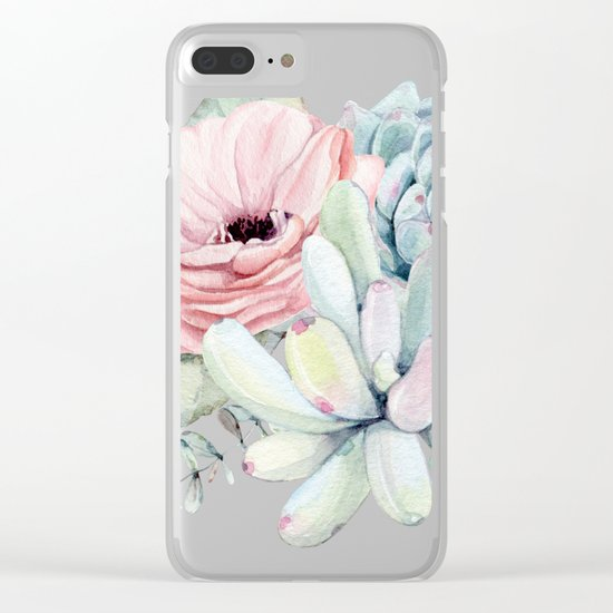 Pastel Succulents by Nature Magick Clear iPhone Case