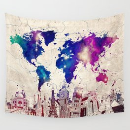 world map city skyline galaxy 2 Wall Tapestry