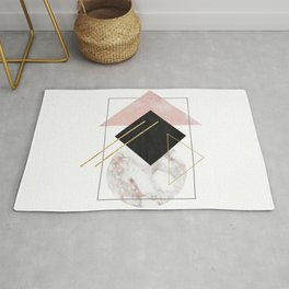 Rose Marble Triangle Art | Geometry Wall Decor | Polygonal Modern Minimalist Abstract Shapes Rug