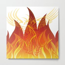 Red and Golden Phoenix Rising From The Flames Metal Print