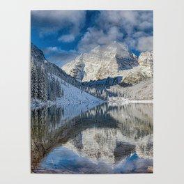 Winter Season at Maroon Bells Colorado Panorama Poster