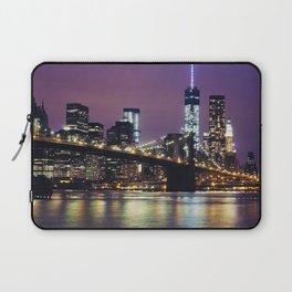 Manhattan Skyline over the Brooklyn Bridge at Night Laptop Sleeve