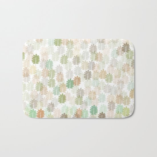 Soft Delicate Colored Leaf Abstract Bath Mat