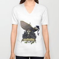 monkey island V-neck T-shirts featuring Le Chuck from Monkey Island by Sara E. Snodgrass
