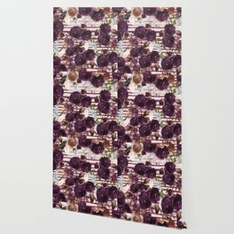 Watercolor ivory purple burgundy brown floral stripes Wallpaper