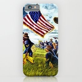 African American 9th Cavalry Buffalo Soldiers 1898 in Cuba, San Juan Hill landscape painting iPhone Case