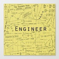 engineer Canvas Prints featuring Yellow - Engineer by Be Raza