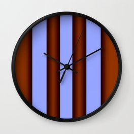 Bright Blue Brown Stripes Background Wall Clock