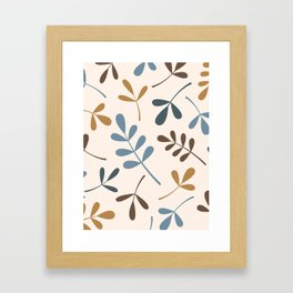 Assorted Leaf Silhouettes Blues Brown Gold Cream Framed Art Print