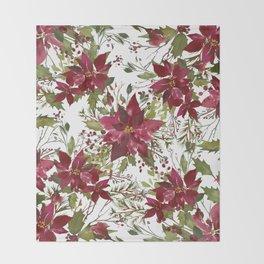 Poinsettia Flowers Throw Blanket