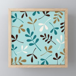 Assorted Leaf Silhouettes Teals Cream Brown Gold Framed Mini Art Print