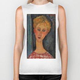 """Amedeo Modigliani """"A Blonde Wearing Earrings"""" Biker Tank"""