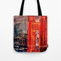san francisco Tote Bags featuring San Francisco by takmaj