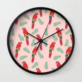 Macaw parrot tropical bird jungle animal nature pattern Wall Clock
