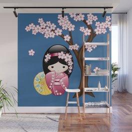 Japanese Spring Kokeshi Doll on Blue Wall Mural