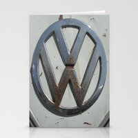 vw bus Stationery Cards featuring Rusty VW Bus Symbol by wildVWflower