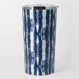 Shibori Stripes Indigo Blue Travel Mug