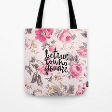 Vintage Floral Girly Pink Roses Pattern Be True Tote Bag