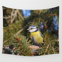 Blue tit resting on a branch conifer Wall Tapestry