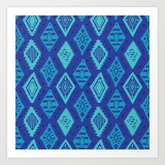 Blue Tribal Print Art Print