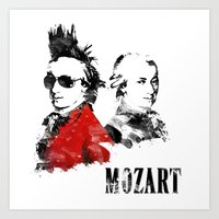 mozart Art Prints featuring Mozart Punk by viva la revolucion
