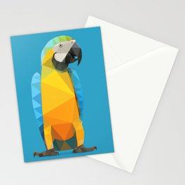 Low Poly Blue and Gold Macaw Stationery Cards
