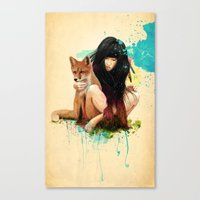 dragon ball z Canvas Prints featuring Fox Love by Ariana Perez