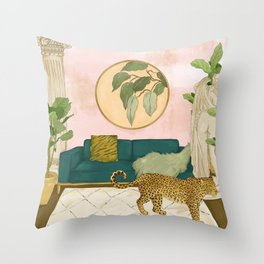 A Leopard in my Living Room Throw Pillow