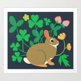 Cottontail Rabbit + Wood-sorrel + Red Clover + Buttercup Art Print